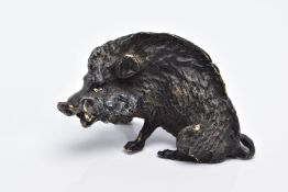 A BERGMAN BRONZE SCULPTURE OF A BOAR, painted bronze figure, approximate height 3.5cm, approximate