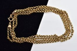 A YELLOW METAL DOUBLE ROW BELCHER CHAIN, two rows of fine belcher link chains fitted to a spring