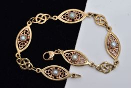 A 9CT GOLD SPLIT PEARL CLOGAU BRACELET, designed with five rose and yellow gold Celtic pattern links