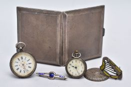 A SILVER CIGARETTE CASE, TWO BROOCHES AND TWO POCKET WATCHES, the cigarette case of an engine turn