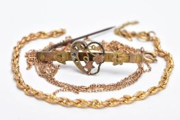 A SMALL PARCEL OF GOLD JEWELLERY, to include a 9ct gold fine Figaro chain fitted with a spring clasp
