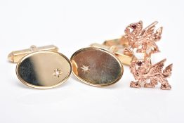 TWO PAIRS OF 9CT GOLD CUFFLINKS, the first a pair of yellow and rose gold Clogau cufflinks in the