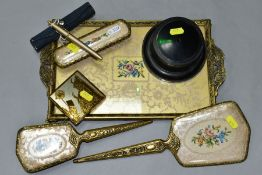 A PETIT POINT DRESSING TABLE SET, Dorset Fifth Avenue make up compact, Waterman ball point pen in