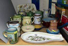 BOURNE DENBY POTTERY, to include Epic graduated jugs, Glyn Colledge hand painted tray, size