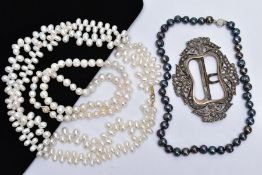TWO CULTURED FRESHWATER PEARL NECKLACES, A TAHITIAN PEARL NECKLACE AND A WHITE METAL BUCKLE, the