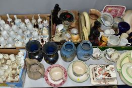 FOUR BOXES AND LOOSE CERAMICS ETC, to include crested wares, decorative bells, Masons 'Golden