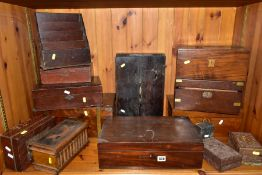 THIRTEEN WOODEN BOXES FOR RESTORATION OR SPARE PARTS, ETC, to include writing slopes, carved trinket