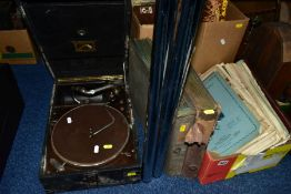 A CASED HIS MASTERS VOICE TABLE TOP GRAMAPHONE in black case along with two folders of 78's, a