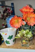 THREE ARTIFICAL FLOWER ARRANGEMENTS, AN EICHWALD PORCELAIN BALUSTER VASE AND A PLANT POT, the