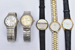 FIVE GENTS WRISTWATCHES, to include a Pierre Cardin watch with a detailed white dial signed '