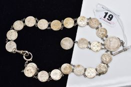 A WHITE METAL COIN NECKLET, made from Queen Victoria Hong Kong five cent coins dating between 1888 -