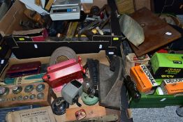 THREE BOXES OF TOOLS, SCIENTIFIC INSTRUMENTS, etc, including an incomplete set of cased weights, HMV