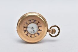 A GOLD PLATED HALF HUNTER WALTHAM POCKET WATCH, white dial signed 'Waltham', Roman numerals, seconds