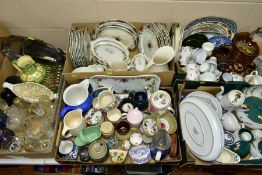 SEVEN BOXES OF CERAMICS AND SUNDRIES, to include Denby Chatsworth tureen and two platters, Denby
