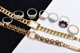 TWO LADIES WRISTWATCHES AND SEVEN RINGS, the first watch with a square cream dial signed 'Berg 17