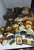 A BOX AND LOOSE ALARM, MANTEL AND OTHER CLOCKS AND PARTS, including a Kenton 'Solid State Clock
