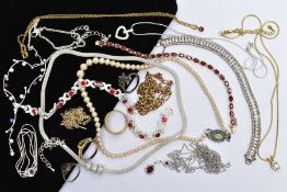 A SELECTION OF JEWELLERY, to include a yellow-coloured metal line bracelet, set with oval cut