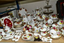 ROYAL ALBERT 'OLD COUNTRY ROSES' TEA/DINNER WARES AND TRINKETS, comprising three tier cake/