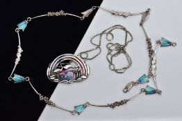 TWO WHITE METAL AND ENAMEL NECKLACES, the first designed with a white metal and colourful enamel