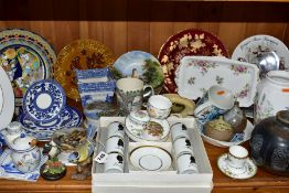 A QUANTITY OF CERAMICS, including two Victorian Prattware pot lids and bases 'STRATHFIELDS THE