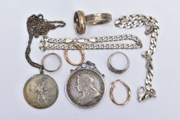 A SELECTION OF ITEMS, to include a mounted 1897 Queen Victoria commemorative coin, within a scroll
