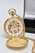 A FULL HUNTER POCKET WATCH WITH ALBERT CHAIN, the yellow toned pocket watch with an open
