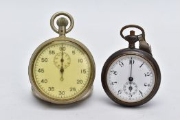 A MILITARY STOPWATCH AND AN OPEN FACED POCKET WATCH, the white metal stopwatch with a white dial,