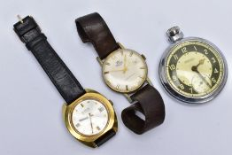TWO GENTS WRISTWATCHES AND A POCKET WATCH, the first watch with a circular silver dial signed '