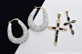 TWO 9CT GOLD CROSS PENDANTS AND A PAIR OF HOOP EARRINGS, the first cross pendant set with five