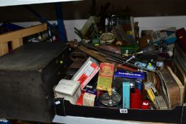 FIVE BOXES AND LOOSE COLLECTABLES, TEXTILES, SUNDRIES, etc, including a vintage four drawer chest, a