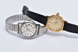TWO LADIES OMEGA WRISTWATCHES, the first designed with a gold tone hexagonal dial signed 'Omega De