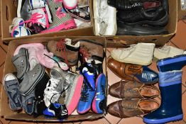 THREE BOXES OF USED SHOES to include two boxes of children shoes, various sizes 10, 11, 13, 1 etc