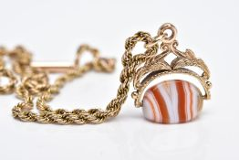 A 9CT GOLD SWIVEL AGATE FOB PENDANT NECKLACE, the fob designed with a polished white and orange