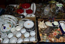 FOUR BOXES OF CERAMICS, GLASS AND METALWARES, including a Noritake 'Evening Mood' part tea set