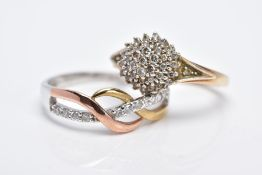 TWO 9CT GOLD DIAMOND RINGS, the first designed as a raised cluster set with round brilliant cut