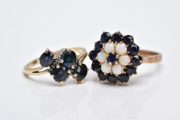 A 9CT GOLD SAPPHIRE AND OPAL CLUSTER RING AND A 9CT GOLD SAPPHIRE AND DIAMOND RING, the raised