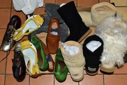 A BOX OF LADIES SHOES/BOOTS comprising a pair of Prada shoes size 3, two pairs of Bottega Veneta