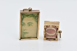 TWO 9CT GOLD MONEY CHARMS, the first of a rectangular form, holding a one pound note, engraved to