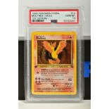 A PSA GRADED POKEMON 1ST EDITION FOSSIL SET MOLTRES HOLO CARD, (12/62), graded GEM MINT 10 and