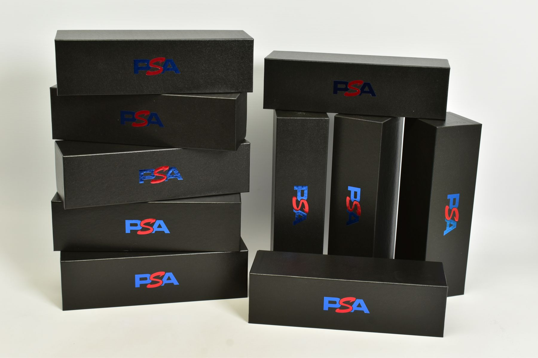 A QUANTITY OF EMPTY PSA CARDBOARD CARD STORAGE BOXES, lidded cardboard boxes finished in black