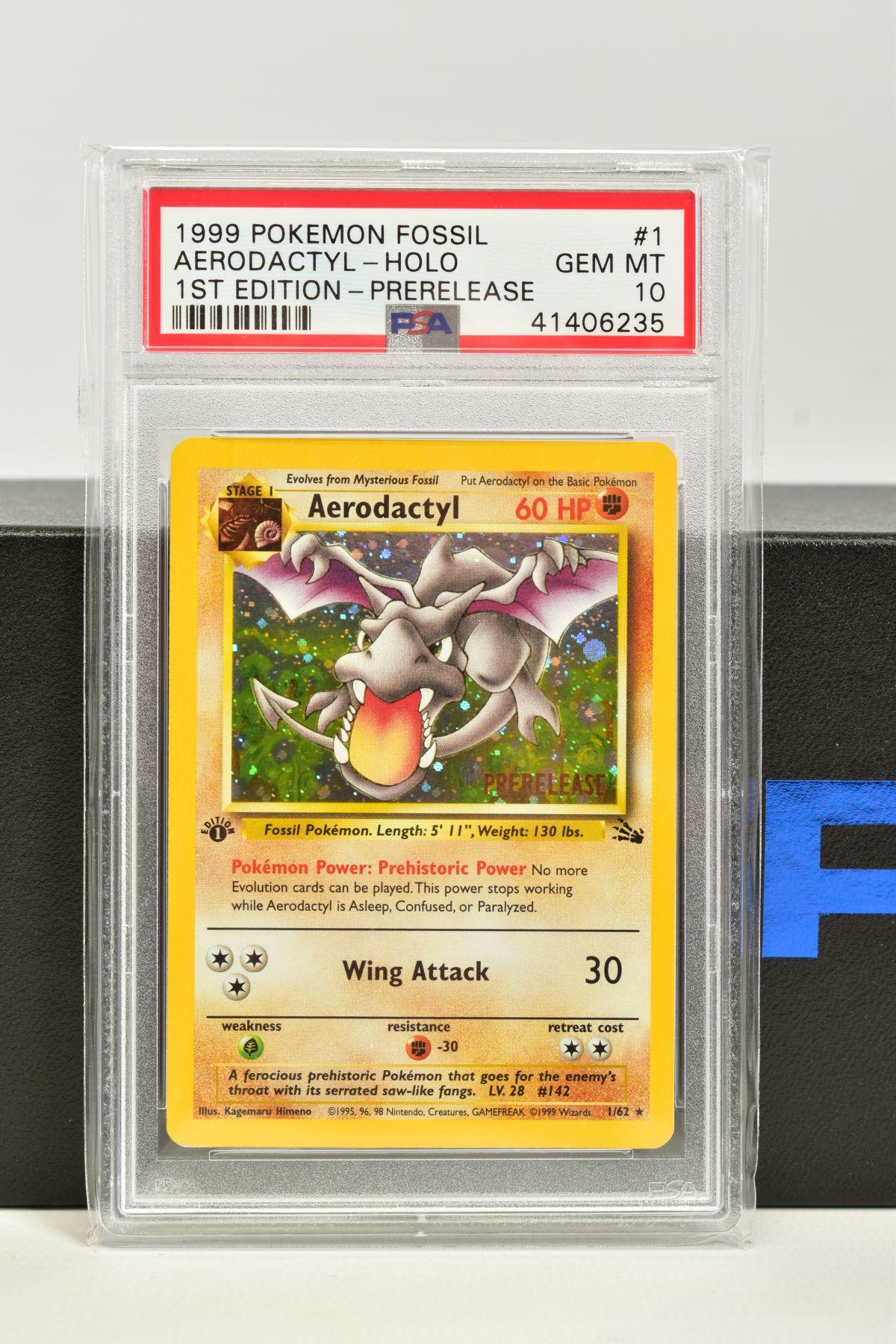 A PSA GRADED POKEMON 1ST EDITION PRE RELEASE FOSSIL SET AERODACTYL HOLO CARD, (1/62), Cosmo foil,