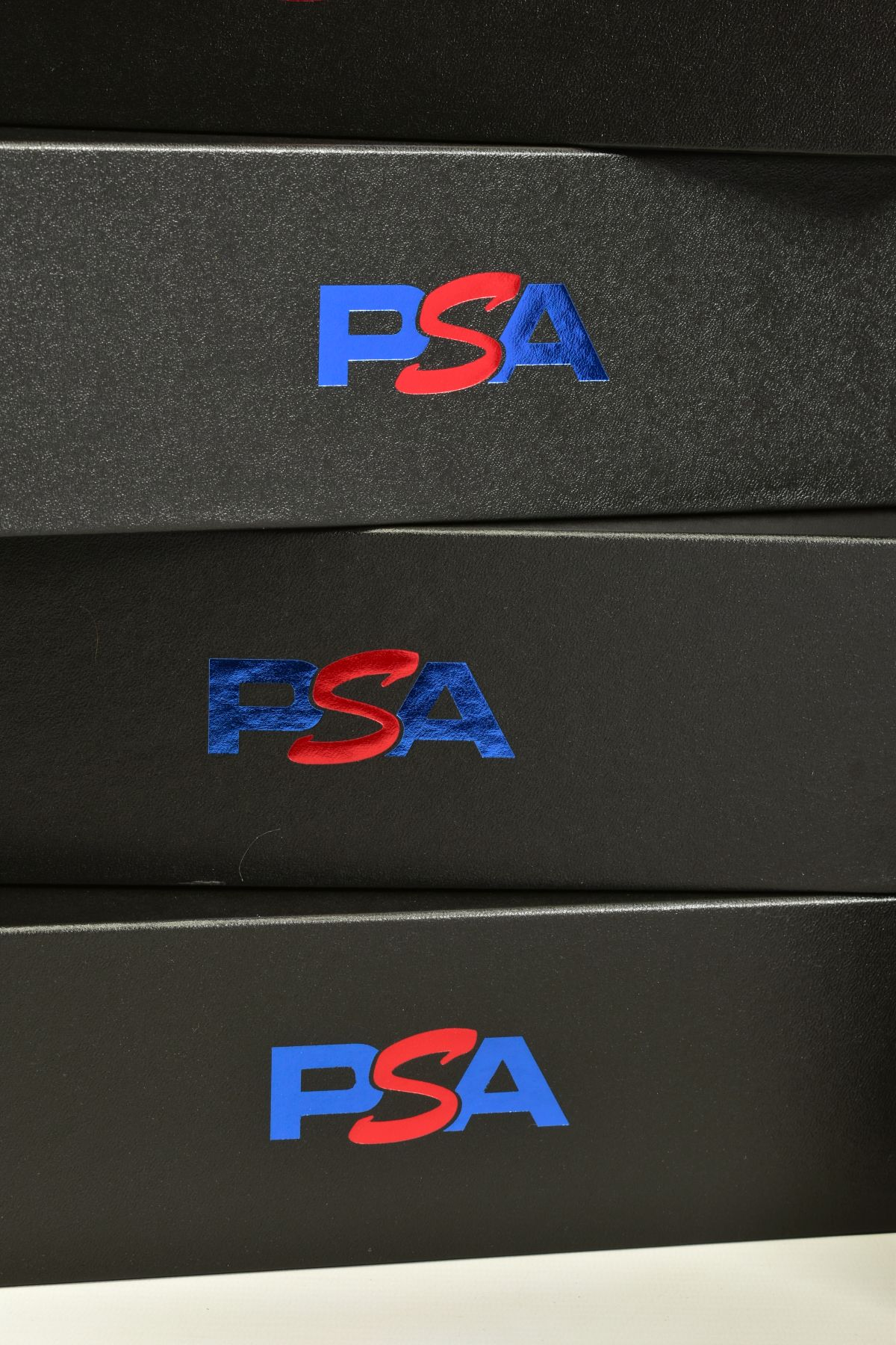 A QUANTITY OF EMPTY PSA CARDBOARD CARD STORAGE BOXES, lidded cardboard boxes finished in black - Image 3 of 3