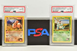 A QUANTITY OF PSA GRADED POKEMON 1ST EDITION GYM HEROES AND GYM CHALLENGE SET CARDS, all are
