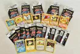 A QUANTITY OF SEVENTY SEALED POKEMON UNLIMITED TEAM ROCKET BOOSTER LONG PACKS, four different packet
