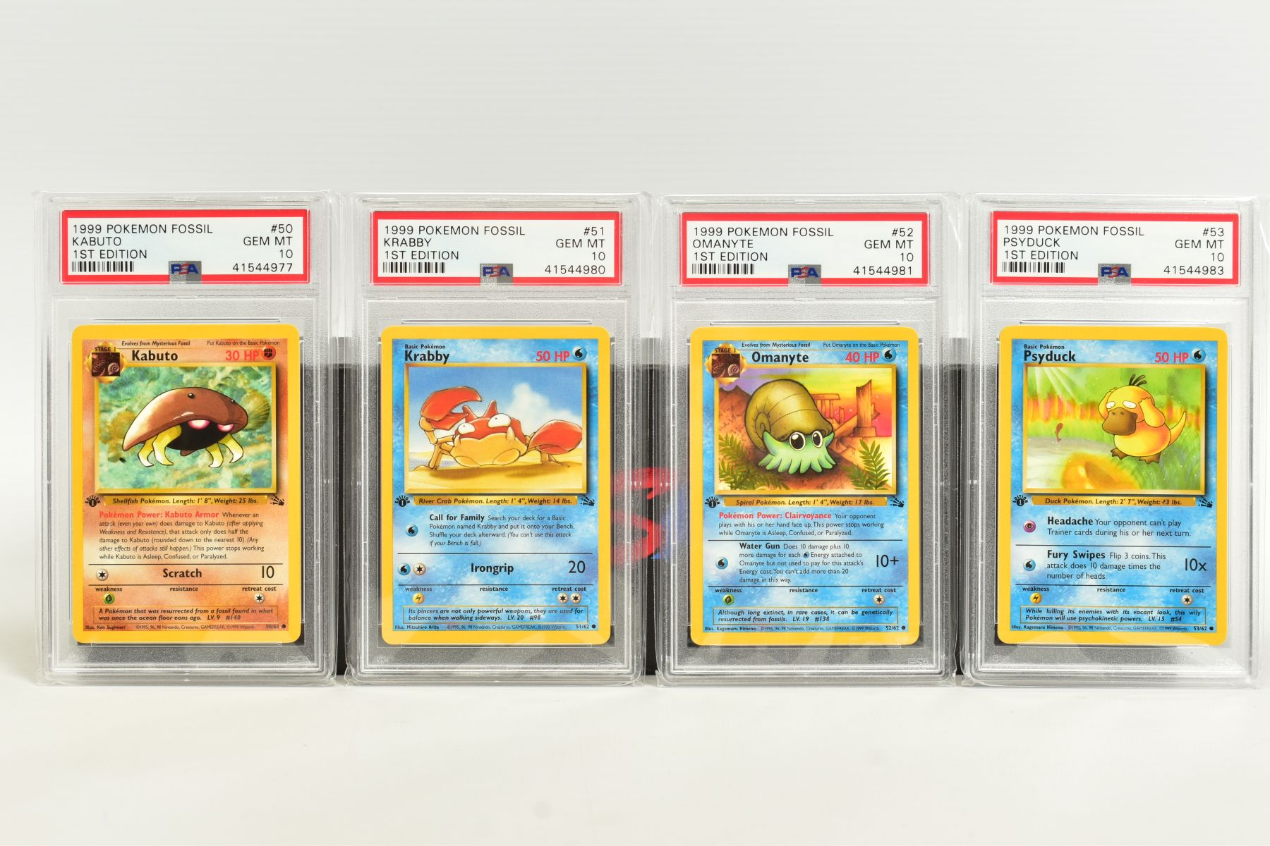 A QUANTITY OF PSA GRADED POKEMON 1ST EDITION FOSSIL SET CARDS, cards number 36 to 62 and Kabuto - Image 5 of 8
