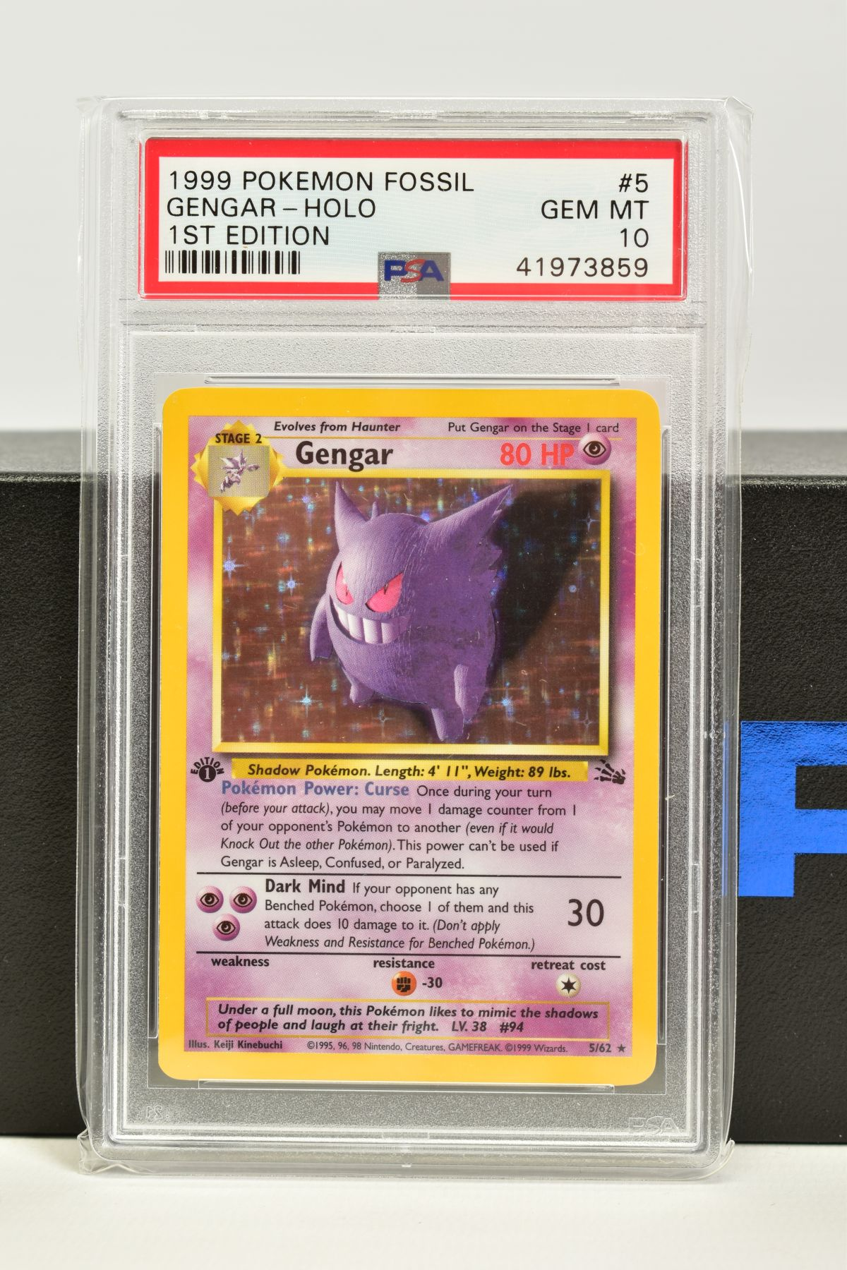 A PSA GRADED POKEMON 1ST EDITION FOSSIL SET GENGAR HOLO CARD, (5/62), graded GEM MINT 10 and