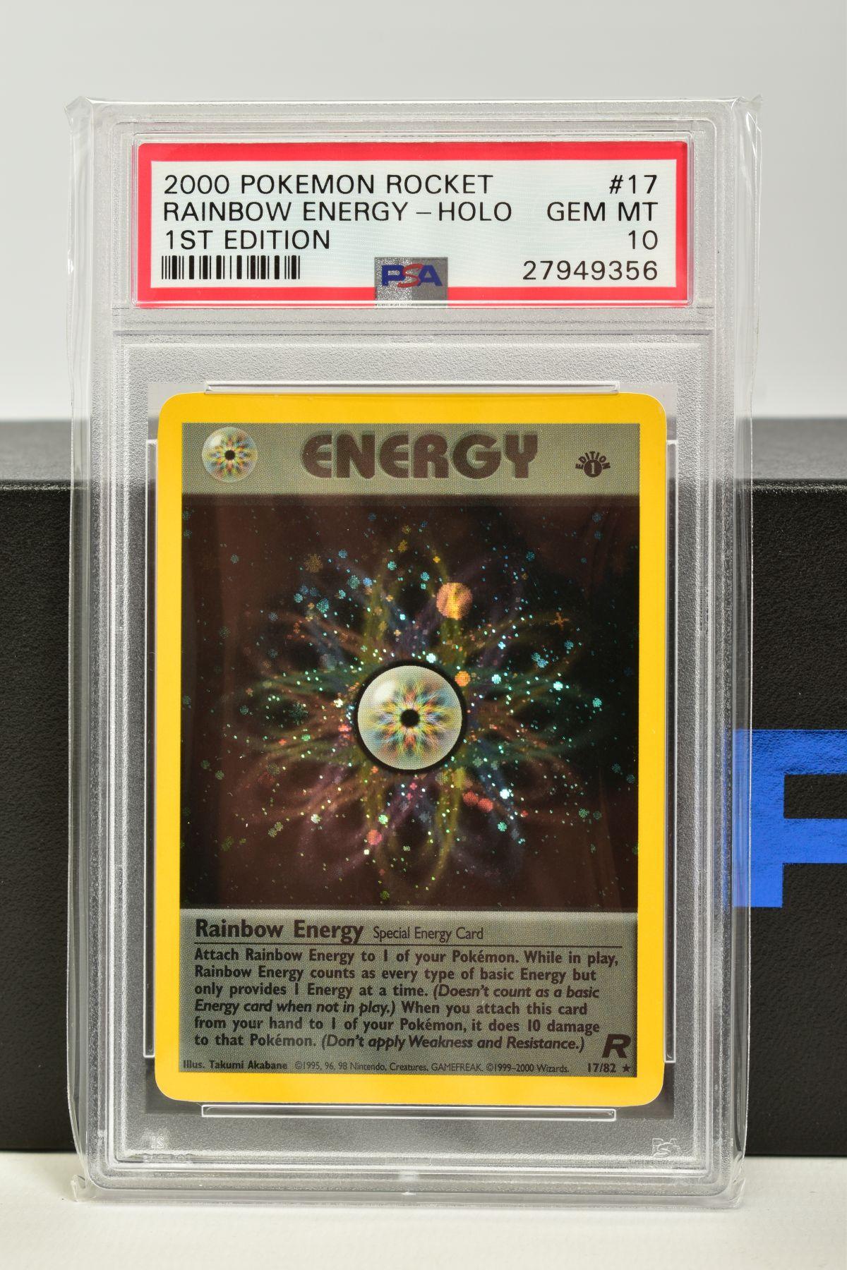 A PSA GRADED POKEMON 1ST EDITION TEAM ROCKET SET RAINBOW ENERGY HOLO CARD, (17/82), graded GEM