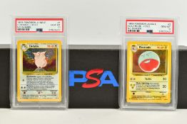 A QUANTITY OF PSA GRADED POKEMON 1ST EDITION JUNGLE SET NO SYMBOL ERROR AND PROMO CARDS, all are