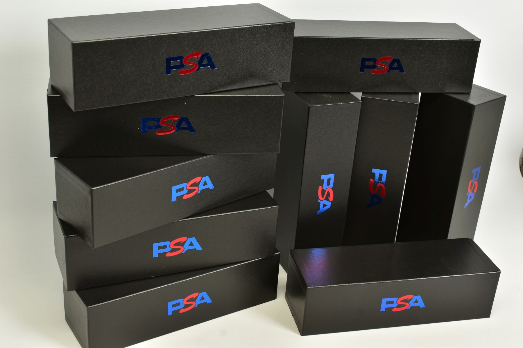 A QUANTITY OF EMPTY PSA CARDBOARD CARD STORAGE BOXES, lidded cardboard boxes finished in black - Image 2 of 3