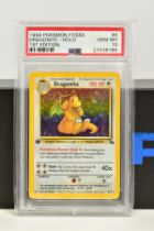 A PSA GRADED POKEMON 1ST EDITION FOSSIL SET DRAGONITE HOLO CARD, (4/62), graded GEM MINT 10 and
